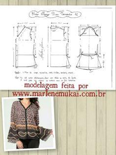 Blusa com manga de Sino. Facil e pratico!! Modelagem da Marlene Mukai.