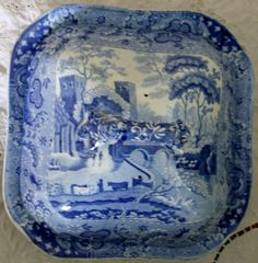 Antique English Georgian Blue and White Transfer Vegetable Dish Circa 1820
