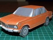 Classic 1973 Orange BMW 2002 TI Paper Car Free Vehicle Paper Model Download