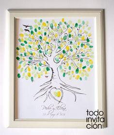 Cuadro, árbol de huellas para que tus invitados de tu boda dejen su huella y su firma. Lámina personalizada con la ilustración del árbol, nombres y fecha de la boda. un recuerdo único.