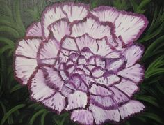 Tami Baron - Mary's Purple and White Carnation - Oil on canvas board 12 x 16