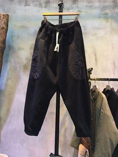 Simple Design Thickening Harem Pants Loose-Fitting Black Pants  #pants #trousers #fashion #black #harem #bottom #loose #baggy #plussize #plain #casual #woman