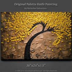 """Large 36""""x24""""x1.5"""" Original Blossom Tree Painting Palette Knife Textured Impasto on Gallery Canvas - Wired Ready to Hang FAST FREE SHIPPING!"""
