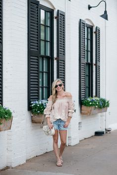 blush off the shoulder top, cut off denim shorts, magnolia market at the silos, off the shoulder outfit, dallas fashion blogger