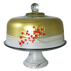 Golden Hill Studio This lovely hand painted cake dome set features cheerful berries and branches. Perfect for the holidays or any season. Something to be handed down from generation to generation. Cake Stand With Cover, Cake And Cupcake Stand, Peony Cake, Carnival Cakes, Striped Cake, Cake Dome, Golden Hill, Cake Carrier, Elephant Cakes