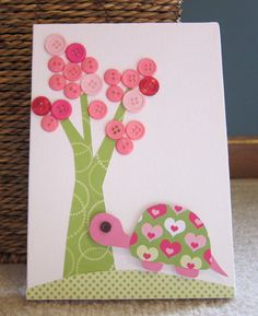 Children's Room Canvas Art, Nursery decor,  5 x 7, turtle, tree, cute as a button, pink and lime green on Etsy, $16.00