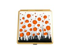 Square Compact Mirror Hand Painted Enamel Orange by colorsbyliza