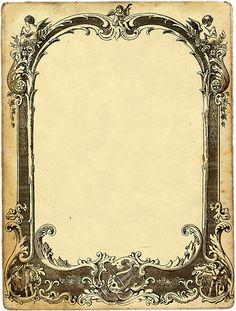 Book of Shadows: Angel, ornate frame. Vintage Diy, Vintage Labels, Vintage Ephemera, Vintage Frames, Vintage Paper, Vintage Prints, Molduras Vintage, Decoupage, Vintage Illustration