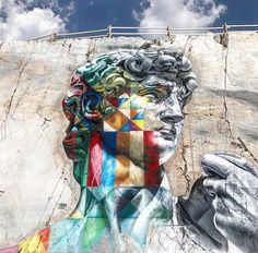 Detail of the Eduardo Kobra mural in Carrara, Italy.
