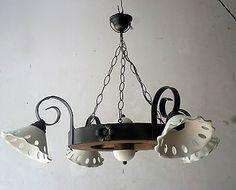 Lampadario rustico in ferro battuto e legno terracotta mod. Ruota di carro