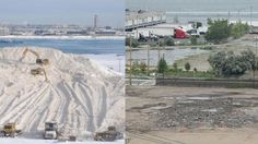 The South Boston snow pile, before and after (Photo credit Conventures, Inc.)