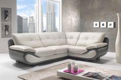 Divano-Angolare-Grigio-e-Bianco-in-Pelle-Moderno. White Leather Sofas, Leather Corner Sofa, White Sofas, Corner Sofa Design, Living Room Sofa Design, Living Room Designs, L Shaped Sofa Designs, White Corner Sofas, Family Room Walls