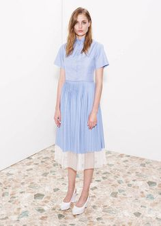 pastel blue shirt dress with white detail