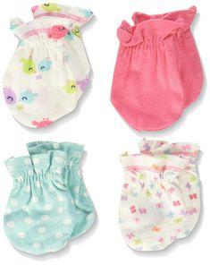 GERBER NEWBORN BABY GIRL/'S 4-Pack Cotton Mittens NWT BEAR Pink