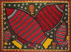 Madhubani painting - I do love the bold shapes and vibrant colours in these paintings.