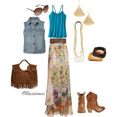 Floral and Denim, created by obsessionss.polyvore.com