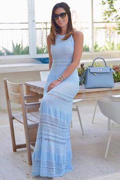 Vestido-Trico-Liberty-Azul | Galeria Tricot - Galeria Tricot