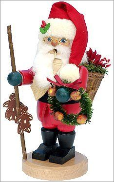 """Ulbricht Santa with Christmas Wreath Smoker by Ulbricht. $154.84. Dressed in traditional Santa suit and holds a decorated wreath. Working incense burner makes an ideal holiday gift. Stands 11"""" tall. Hand-crafted and hand-painted in Germany. Painstakingly hand-painted so no two are exactly alike. The Ulbricht Santa with Christmas Wreath Incense Smoker stands 11 inches tall and is hand-crafted in Germany. Dressed in a traditional Santa suit and holds a colorful wreath and a s..."""