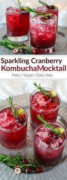 Sparkling Cranberry Mombucha Cocktail   This alcohol-free mocktail is a refreshing and stunning alternative to other holiday cocktails. The ginger and rosemary lend a festive touch and pair nicely with the tart cranberry juice. So now you can celebrate the night away without a headache or dehydration - plus you get a healthy dose of probiotics!   Paleo   Vegan   Dairy-free   therealfoodrds.com