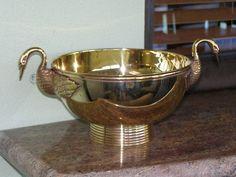 OOOH  Vintage Brass Jardinier Swan handles Pedestal Fruit Bowl Regency Deco   eBay