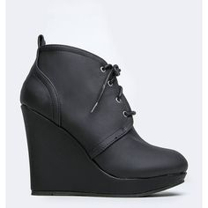 VAL-01 BOOTIE (€32) ❤ liked on Polyvore featuring shoes, boots, ankle booties, black, wedge ankle boots, black booties, oxford wedge booties, wedge boots and black oxfords