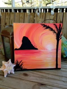 "Chinaman's Hat Palm Tree Sunrise Silhouette Painting. Acrylic on Square Canvas. 12x12""  Oahu, Hawaii art"