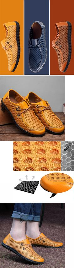 US$35.84#Men Breathable Honeycomb Mesh Loafers Soft Sole Outdoor Casual Shoes