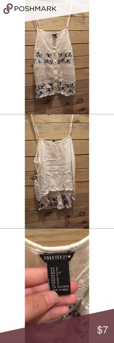 Forever 21 Boho Tank Embroidered white tank, tag says size small but fits XSMALL. Kinda fits cropped. Looks best paired with high waisted & tucked in the front ❤️ Forever 21 Tops Tank Tops