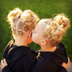 """Twin secrets with double elastic ponytail series to messy firework buns twinning with the amazing @hannah_hairstyles! My girls danced in their school…"""