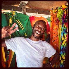 Leo, the beach towel, sarong sales guy on the beach in Negril, Jamaica. Etravelaway.com