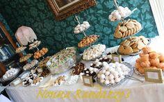 Dessert Table, Wedding Event,  Mini Orange Pudding Cakes, Chocolate Chip Cookies, Fig Cookies, Mini Pies, Cannoli, Petit-fores
