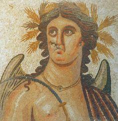 Autumn.  Villa Dar Buc Ammera, Libya, Roman era mosaic of the four seasons
