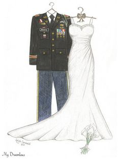 Sketch of Uniform, Wedding Dress & FREE Bouquet - Paper Anniversary Gifts For Her, Wedding Gifts From Groom To Bride, Bridal Shower Gift. Click here to see more:  https://www.etsy.com/listing/206411149/sketch-of-uniform-wedding-dress-free?ref=shop_home_active_8