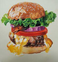 Cute Food, Good Food, Yummy Food, Sweet Drawings, Food Sketch, Watercolor Food, Gourmet Burgers, Cartoon Girl Drawing, Food Painting