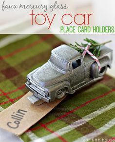 faux mercury glass toy truck place cards