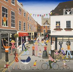 The Square: Winchester – Limited Edition Giclee Print. Edition size: Window mounted on acid free conservation board. mount) x - Louise Braithwaite – Limited Edition Prints and Greetings Cards. Art Area, Happy Paintings, Naive Art, Art Of Living, Various Artists, Limited Edition Prints, All Art, Vintage Posters, Illustrators