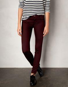 dark burgundy pants, striped shirt, black shiny oxford shoes