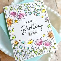 Create fun floral backgrounds in minutes with our pretty Doodle Flowers Background. Happy Birthday Doodles, Happy Birthday Drawings, Happy Birthday Cards Handmade, Creative Birthday Cards, Birthday Card Drawing, Homemade Birthday Cards, Homemade Cards, Flower Doodles, Doodle Flowers