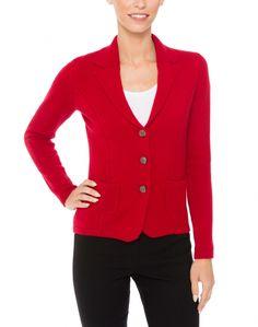 Red Cashmere Knit Blazer  | Kinross | Halsbrook