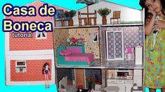 Tutorial: Como fazer uma casa de boneca de papelão para Barbie, Monster ...