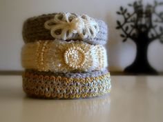 Knitted Bracelets KB 24 WINTER MOOD Set of 3 by Vladilenashandmade, $20.00