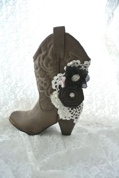 Embellished boots shabby cowboy boots gypsy by TrueRebelClothing, $68.00