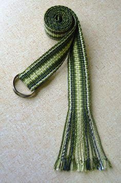Green Patterned Inkle Woven Belt