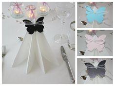 Nydelige sommerfuglbordkort til bryllup, dåp og konfirmasjon. www.pynttilfest.no Cute Butterfly, Napkin Folding, Baby Party, To My Daughter, Place Cards, Table Settings, Scrapbook, Birthday, Pink