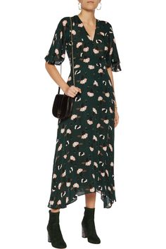 Shop on-sale Derek Lam 10 Crosby Asymmetric printed silk crepe de chine midi dress . Browse other discount designer Dresses & more on The Most Fashionable Fashion Outlet, THE OUTNET.COM