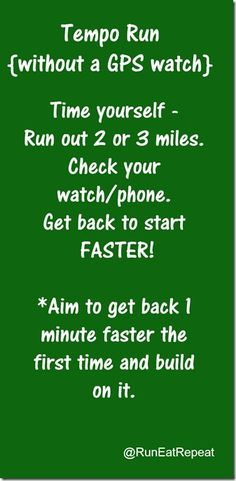 Tempo Run without a running watch. Helps you run faster. Easy to follow.