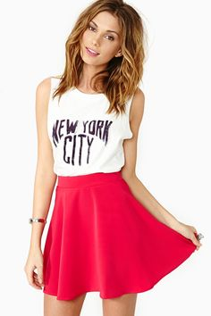 Pink Skater Skirt w/ Sleeveless Muscle Tee a.k.a the perfect casual outfit for any day