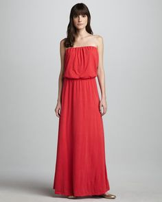 Portola Blouson-Top Maxi Dress by Velvet at Neiman Marcus. Strapless Cocktail Dresses, Strapless Dress Formal, Formal Dresses, Style Wish, My Style, Red Maxi, I Dress, Fashion Beauty, Fashion Dresses
