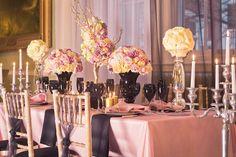 Chanel worthy Pink, Black and Gold wedding decor inspiration
