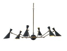 Julian Chichester - Inspried by Italian lighting designs of the 1950s, the Bacco Chandelier features 12 articulating brass arms with steel shades